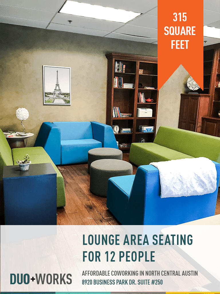 Lounge area seating for 12 people