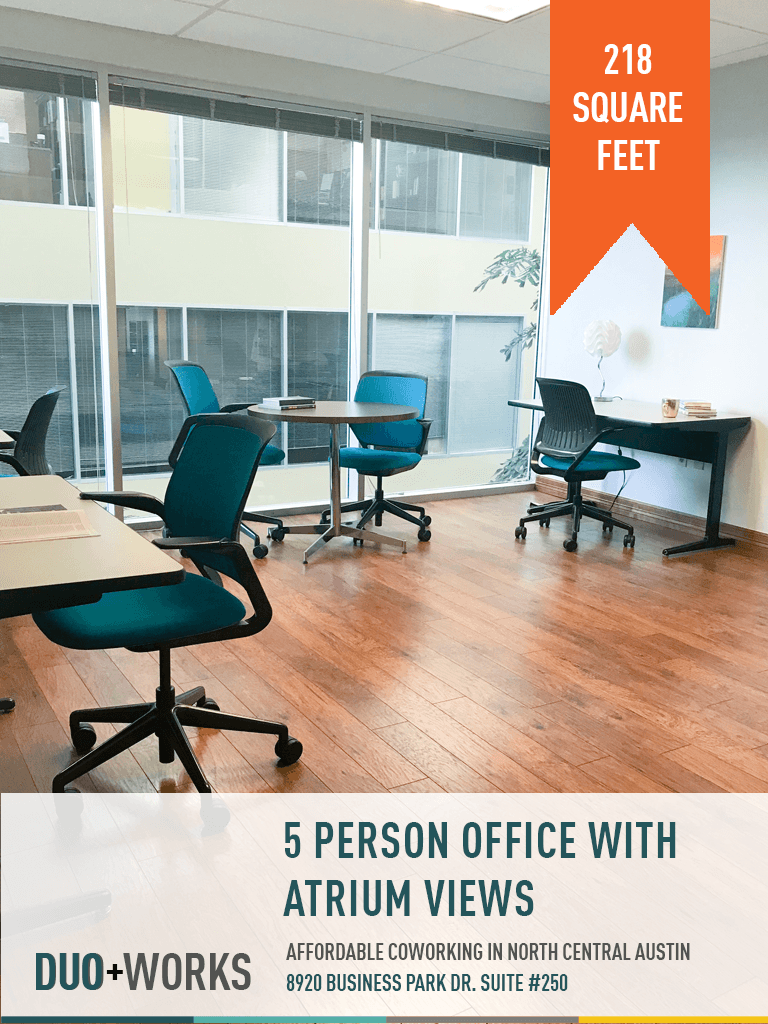 5-person office with atrium views