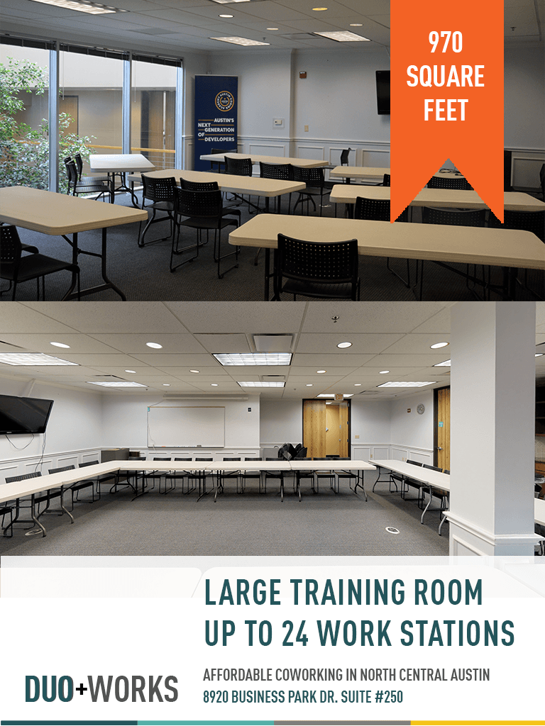 Large training room up to 24 work stations